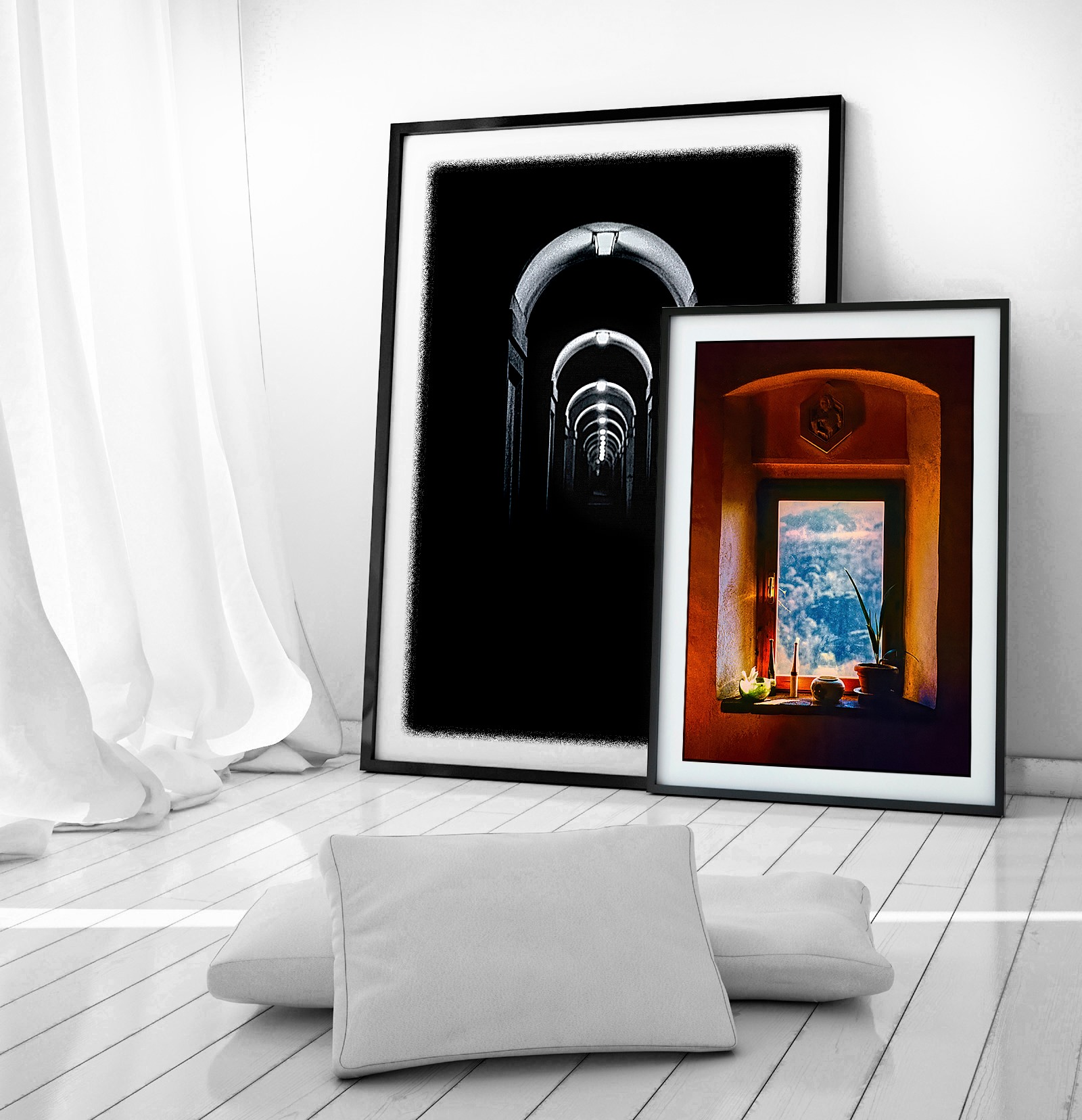 """My Fine Art prints """"From Darkness into Light"""", 1989 and """"An Afternoon in Tuscany"""", 1986."""